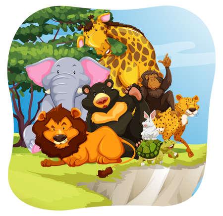 animales de la selva: Los animales salvajes que se sientan en un bosque Vectores