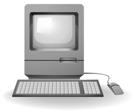 old pc: Old design computer set on a white background