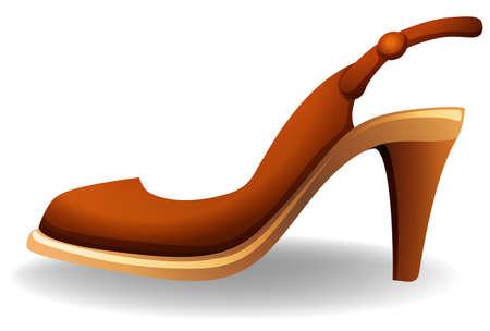 heel strap: Side view of a brown high heel shoe