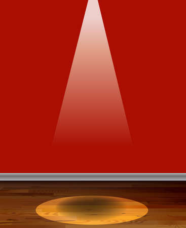 shinning: Empty red color wall with a spot light shinning down on the floor Illustration