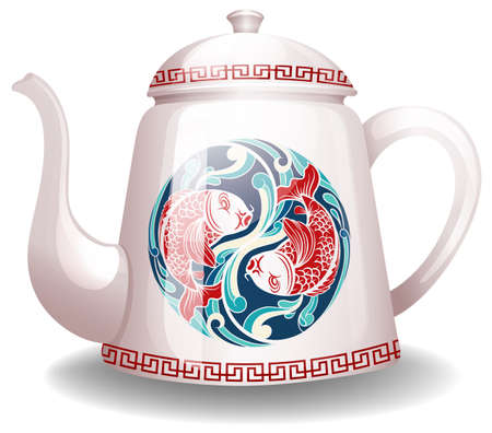closeup: White kettle with a chinese design on it Illustration