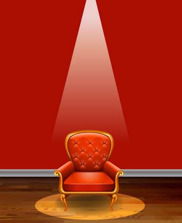 shiny floor: Single red armchair in the middle of the room