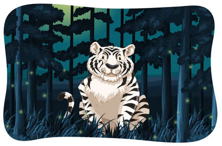 fireflies: White tiger sitting in a dark woods with fireflies around