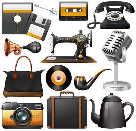 old suitcase: Retro items in black color on a white background