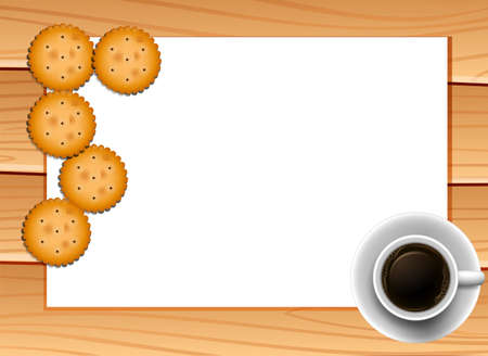 plywood: Banner with cookies and cup of coffee background
