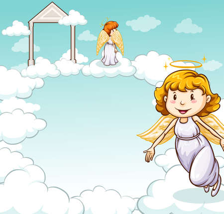 nubes caricatura: Ángeles lindos de pie sobre las nubes en el cielo
