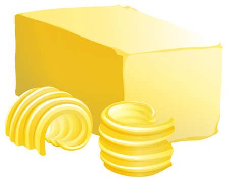 mantequilla: Barra de mantequilla con dos rebanadas en el lado