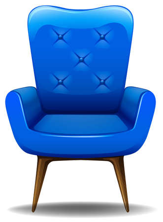 leather armchair: Close up blue armchair made of leather