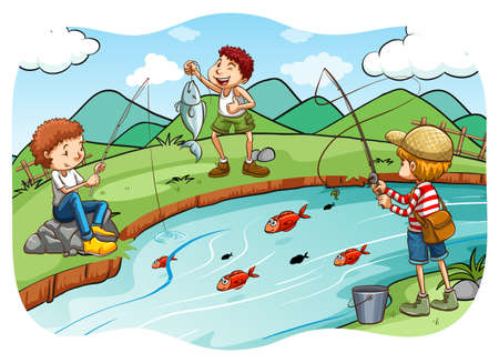 river bank: Children fishing at the river Illustration