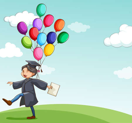 graduation gown: Man in a graduation gown with colorful balloons