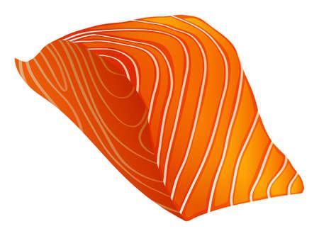 salmon fillet: Single slice of salmon fillet with no skin Illustration