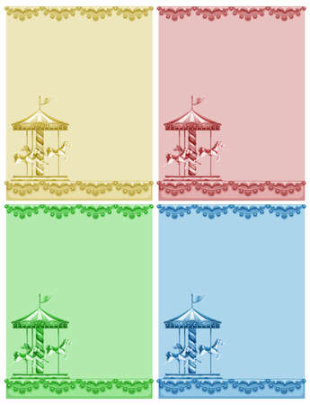 merry go round: Set of different colors papers with merry go round design