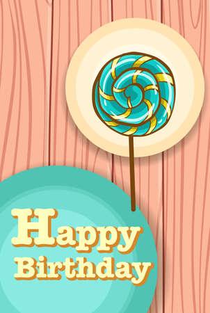 plywood: Happy birthday card with lollipop