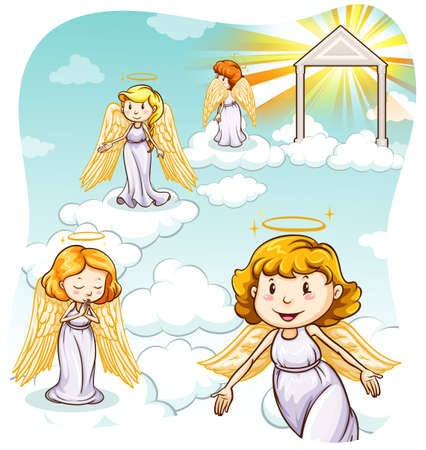 heaven: Four angels with wings in heaven