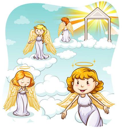 천국: Four angels with wings in heaven