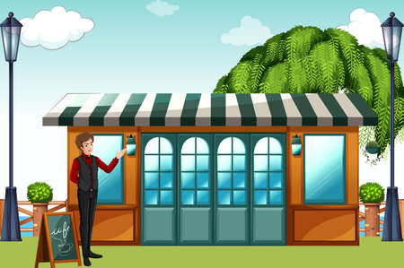 tree service pictures: Man standing in front of a restaurant Illustration
