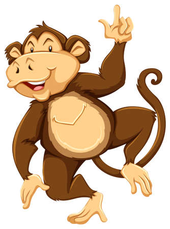 wild living: Smiling monkey dancing on a white background