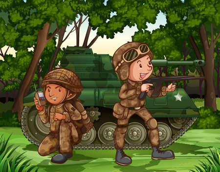 cartoon soldat: Zwei Soldaten mit bewaffneten durch den Tank