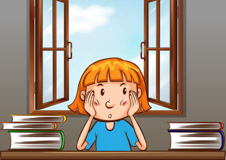cartoon window: Girl sitting on the table with books on left and right Illustration