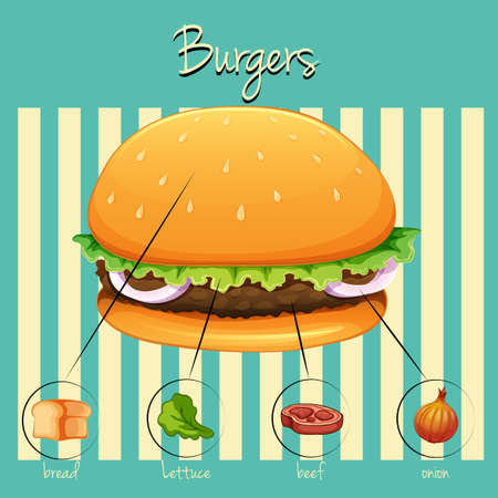 ground beef: Different ingredients of hamburger with background Illustration