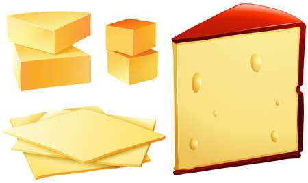 Verschillende soorten verse kaas Stock Illustratie