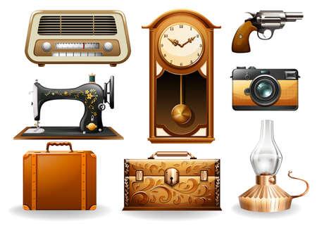 orologi antichi: Diversi oggetti in stile vintage Vettoriali