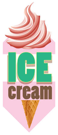 cone: Tag of ice-cream cone with text