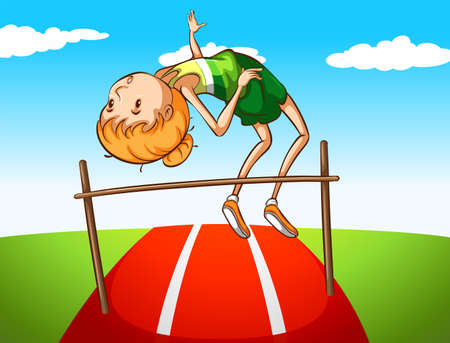 high jump: Girl doing high jump in the field