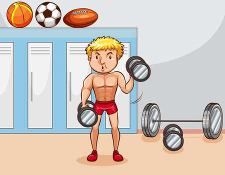 man working out: Man doing weightlifting in the locker room Illustration