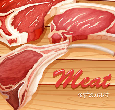 wood cut: Fresh meat chopped in three  pieces Illustration