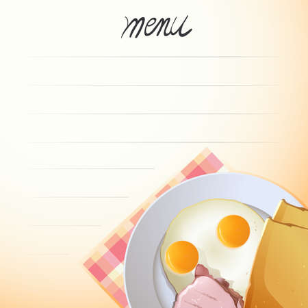 fried egg: Blank menu with fried egg on the plate background Illustration