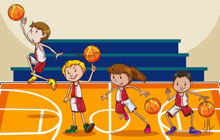 dunking: People playing basketball in the gym Illustration