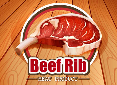 raw material: Beef rib with wooden tile in the background