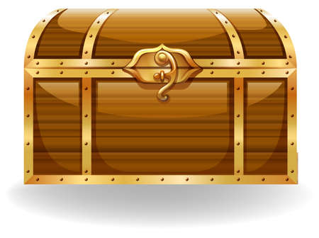 Wooden chest with golden trim and lock