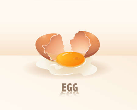cracking: Cracking egg with yellow and white yolk
