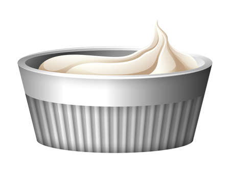sweetened: Cup of whipcream with no toppings Illustration