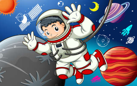 star cartoon: Astronaunt in spacesuit exploring the space