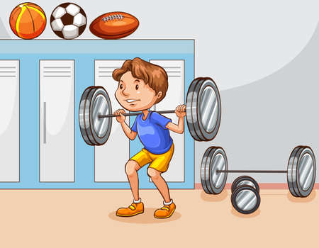 innen: Mann tun Gewichtheben in der Turnhalle Illustration