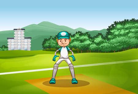 arboles de caricatura: Hombre en uniforme de cricket jugando en el campo