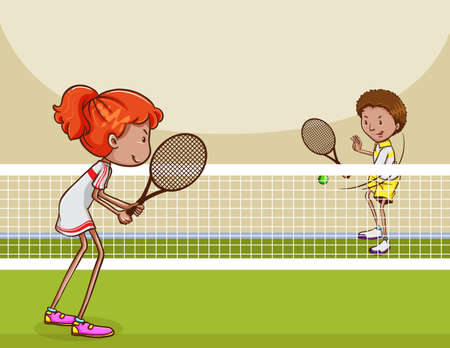 returning: Man and woman playing tennis in the lawn court