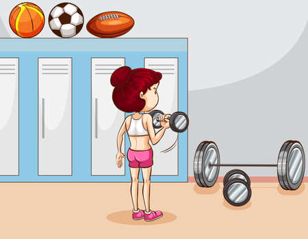 weight room: Girl lifting weight in the locker room