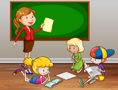 teacher classroom: Female teacher teaching in the classroom Illustration
