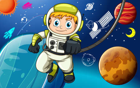 exploring: Astronaunt exploring in the space