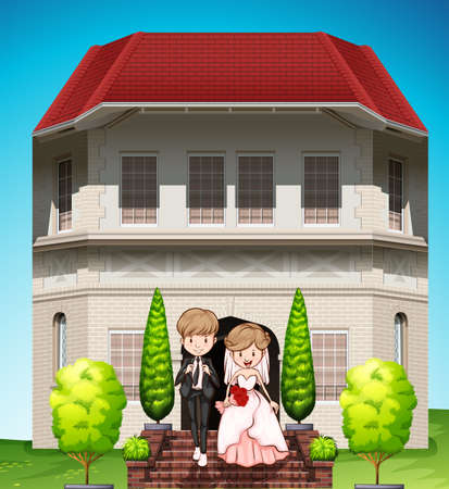 house wife: Wedding couple walking out of the building Illustration
