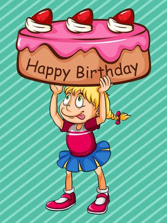happy birthday: Scheda di buon compleanno con la ragazza e la torta