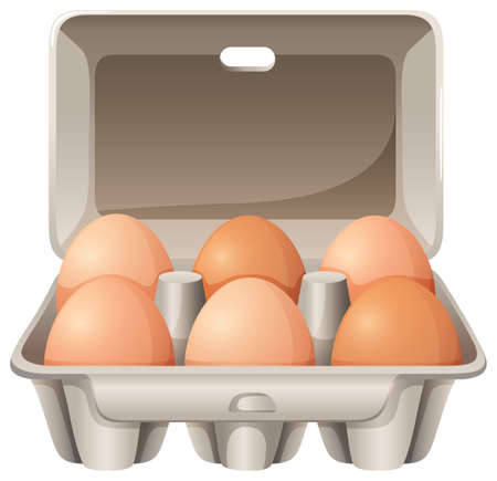 dozen: Half dozen of eggs in the box Illustration