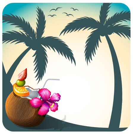 foreground: Beach view with coconut juice foreground Illustration