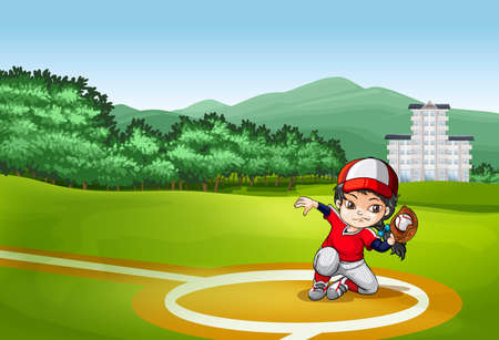 catching: Baseball player catching a ball with glove Illustration