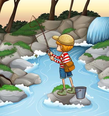 hombre pescando: Boy pesca solo en la corriente