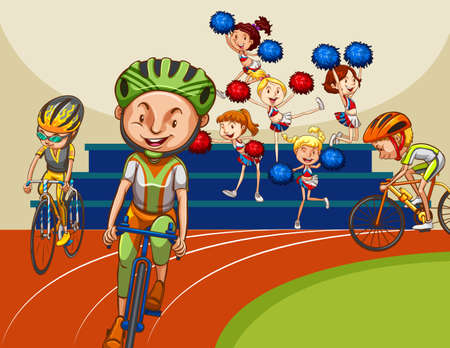 People racing bike with cheerleaders in the background Illustration